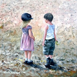 Love Story II by Keith Proctor - Original Painting on Stretched Canvas sized 24x24 inches. Available from Whitewall Galleries